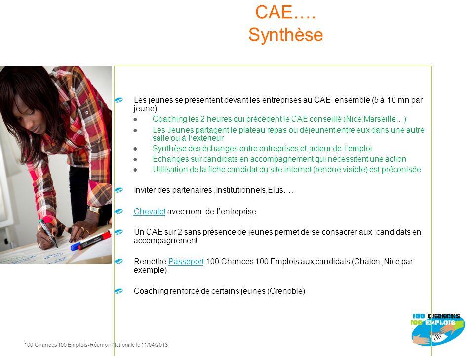 100 Chances 100 Emplois 14 -Réunion Nationale le 11/04/2013 Info collective : Date Idéale : le Jeudi qui précède le SAS Faire témoigner des Jeunes Pré