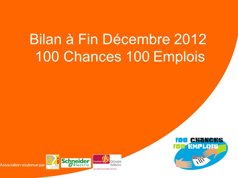VISION 100 Chances 100 Emplois Association soutenue par