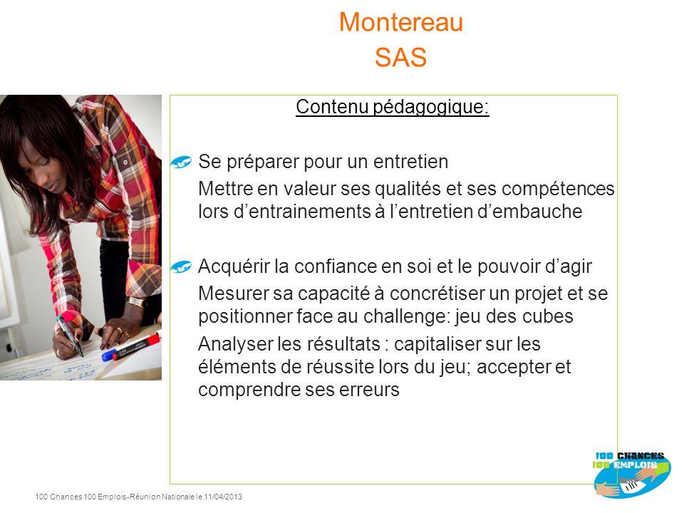 100 Chances 100 Emplois 104 -Réunion Nationale le 11/04/2013 Contenu pédagogique: Présenter son projet professionnel Préparation écrite sur PP/ Prise