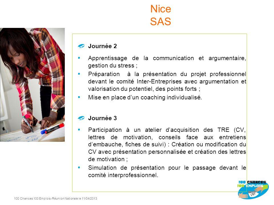 100 Chances 100 Emplois 113 -Réunion Nationale le 11/04/2013 Les jeunes orientés vers le dispositif sont reçus individuellement puis collectivement pa