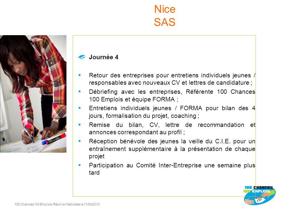 100 Chances 100 Emplois 114 -Réunion Nationale le 11/04/2013 Journée 2 Apprentissage de la communication et argumentaire, gestion du stress ; Préparat
