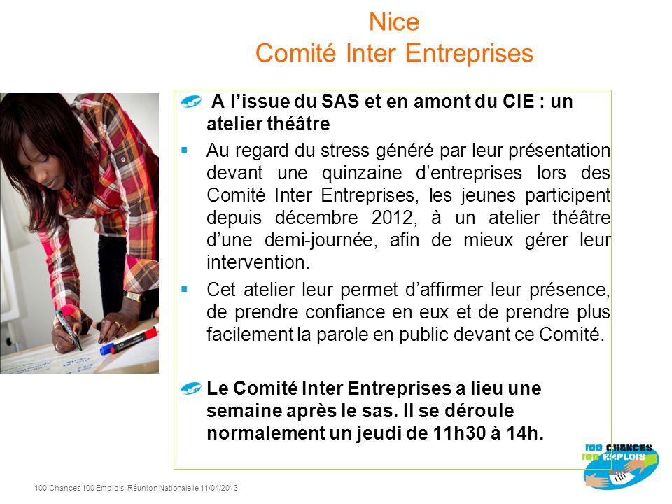 100 Chances 100 Emplois 115 -Réunion Nationale le 11/04/2013 Journée 4 Retour des entreprises pour entretiens individuels jeunes / responsables avec n