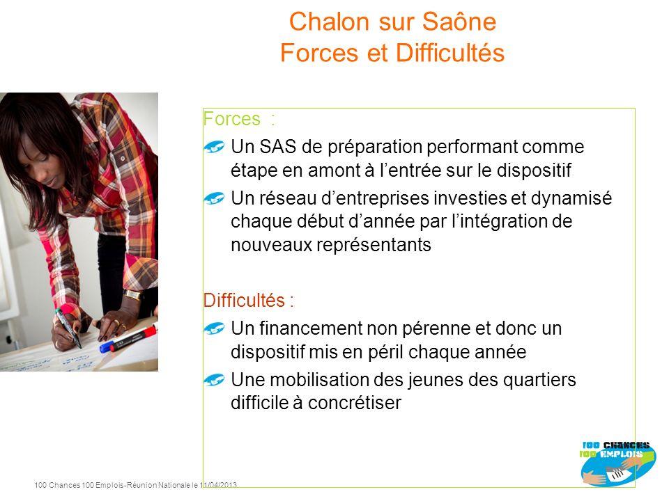 100 Chances 100 Emplois 16 -Réunion Nationale le 11/04/2013 Chalon sur Saône 2010 2011 2012 Entrées Sorties positives 2011 70 38 2012 58 33 2010 57 44