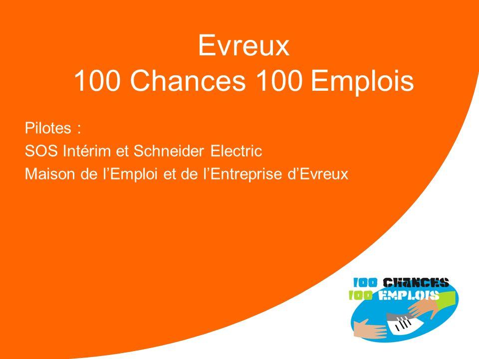 100 Chances 100 Emplois 34 -Réunion Nationale le 11/04/2013 Forces : Un soutien indéfectible de la Préfecture et de la DIRECCTE Une mobilisation facil
