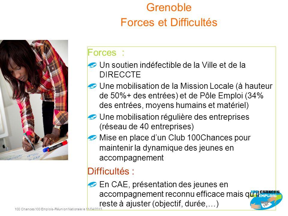 100 Chances 100 Emplois 39 -Réunion Nationale le 11/04/2013 Grenoble 2010 2011 2012 Entrées Sorties positives 2011 69 37 2012 56 34 2010 37 24