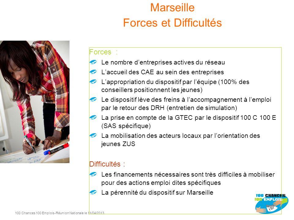 100 Chances 100 Emplois 43 -Réunion Nationale le 11/04/2013 Marseille 2010 2011 2012 Entrées Sorties positives 2012 42 15