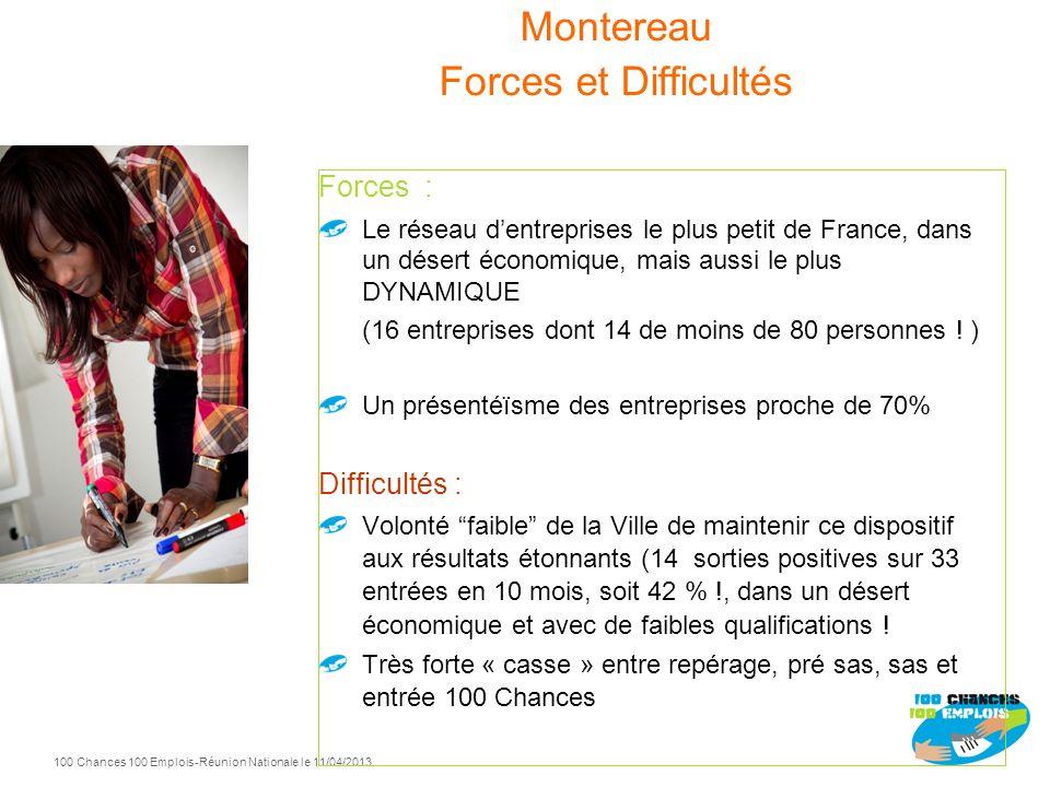 100 Chances 100 Emplois 47 -Réunion Nationale le 11/04/2013 Montereau 2012 Entrées Sorties positives 2012 33 14