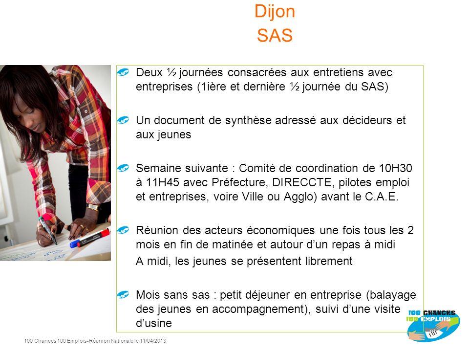 100 Chances 100 Emplois 94 -Réunion Nationale le 11/04/2013 Réunion de présentation une semaine en amont: détail du sas, les pré requis, les codes soc