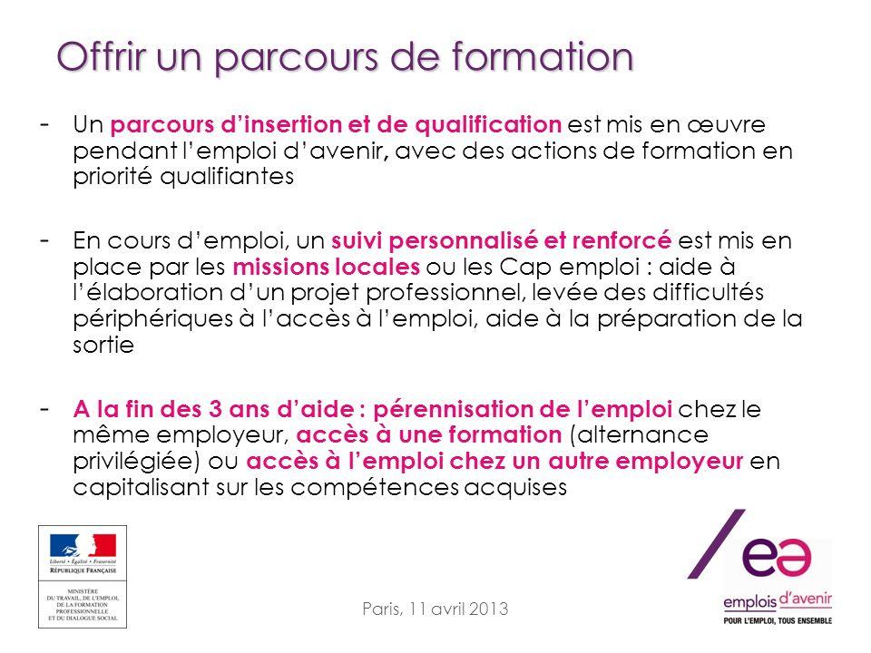 / Paris, 11 avril 2013 Offrir un parcours de formation - Un parcours dinsertion et de qualification est mis en œuvre pendant lemploi davenir, avec des