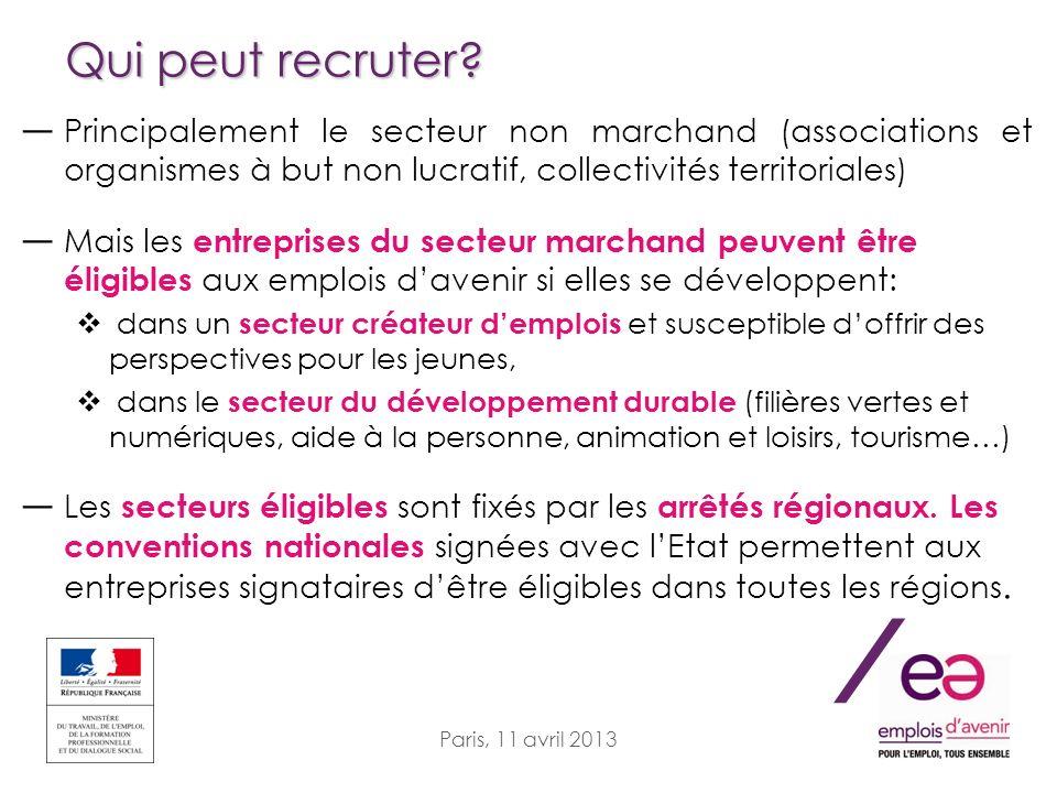 / Paris, 11 avril 2013 Qui peut recruter? Principalement le secteur non marchand (associations et organismes à but non lucratif, collectivités territo