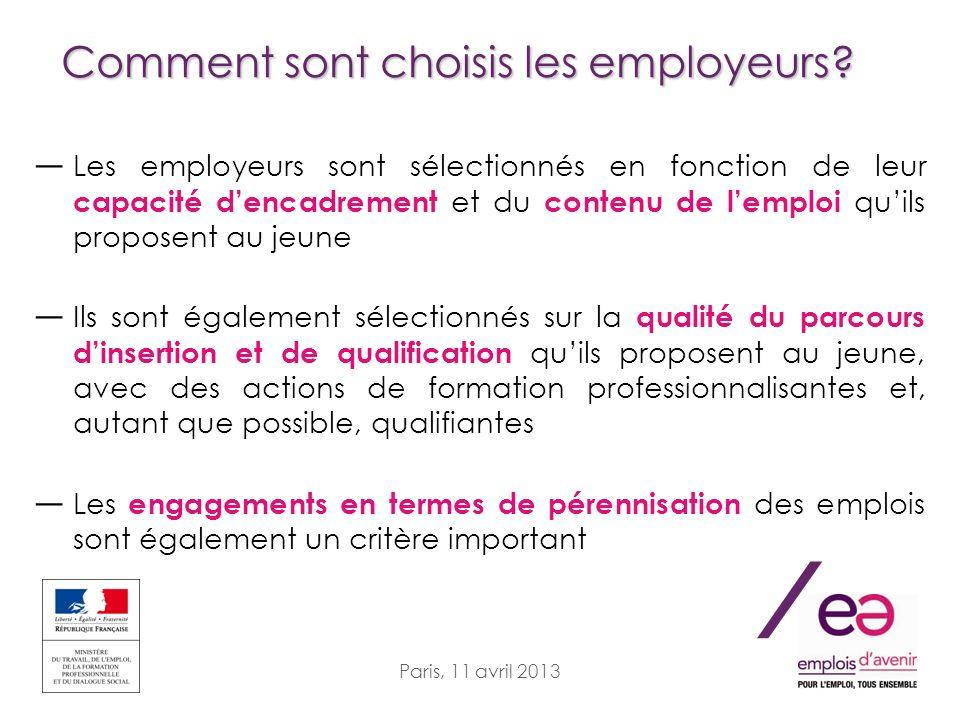 / Paris, 11 avril 2013 Comment sont choisis les employeurs? Les employeurs sont sélectionnés en fonction de leur capacité dencadrement et du contenu d
