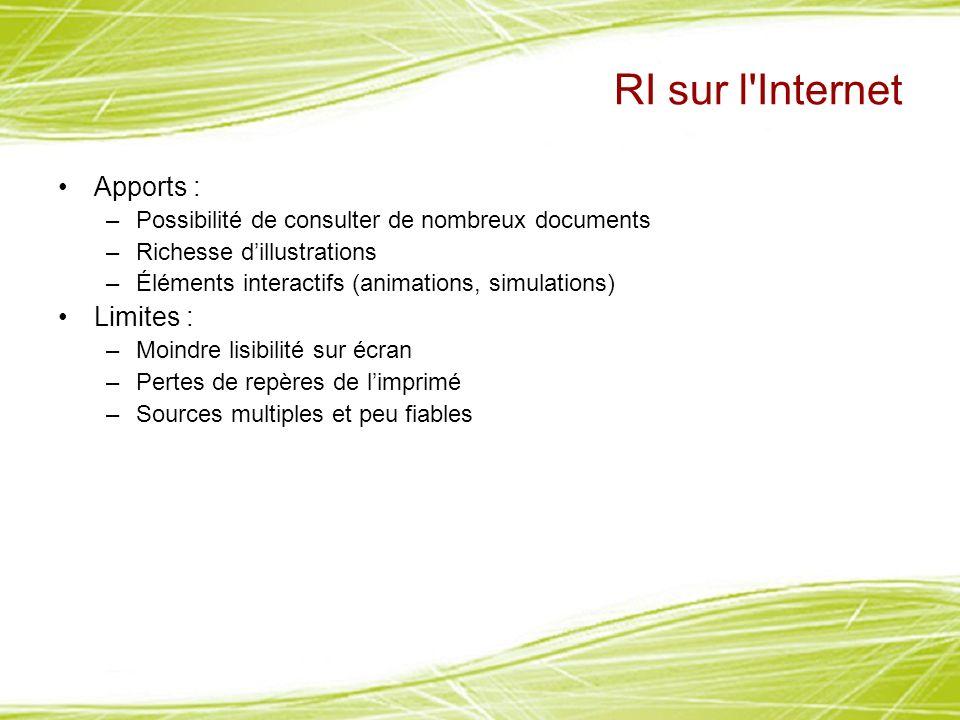 RI sur l'Internet Apports : –Possibilité de consulter de nombreux documents –Richesse dillustrations –Éléments interactifs (animations, simulations) L
