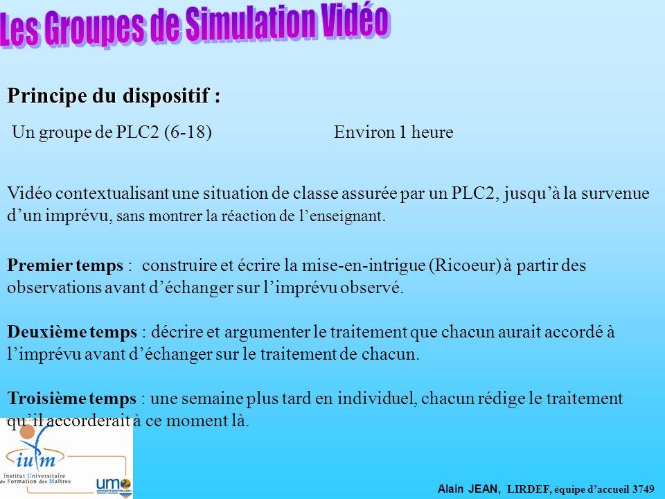 Principe du dispositif : Vidéo contextualisant une situation de classe assurée par un PLC2, jusquà la survenue dun imprévu, sans montrer la réaction d