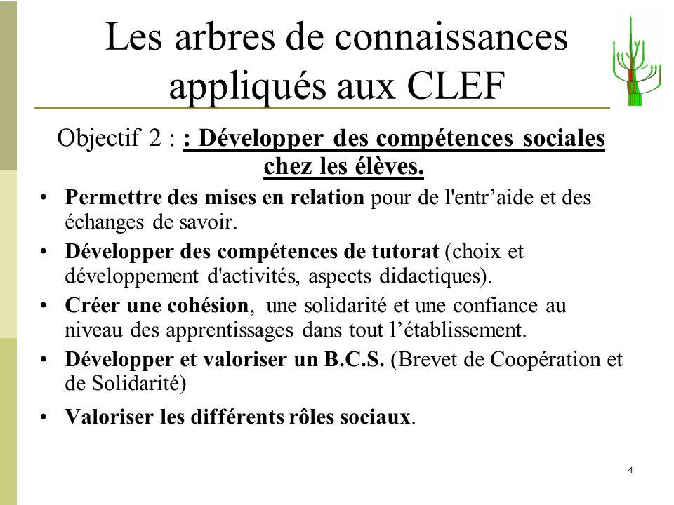 4 Les arbres de connaissances appliqués aux CLEF Objectif 2 : : Développer des compétences sociales chez les élèves. Permettre des mises en relation p