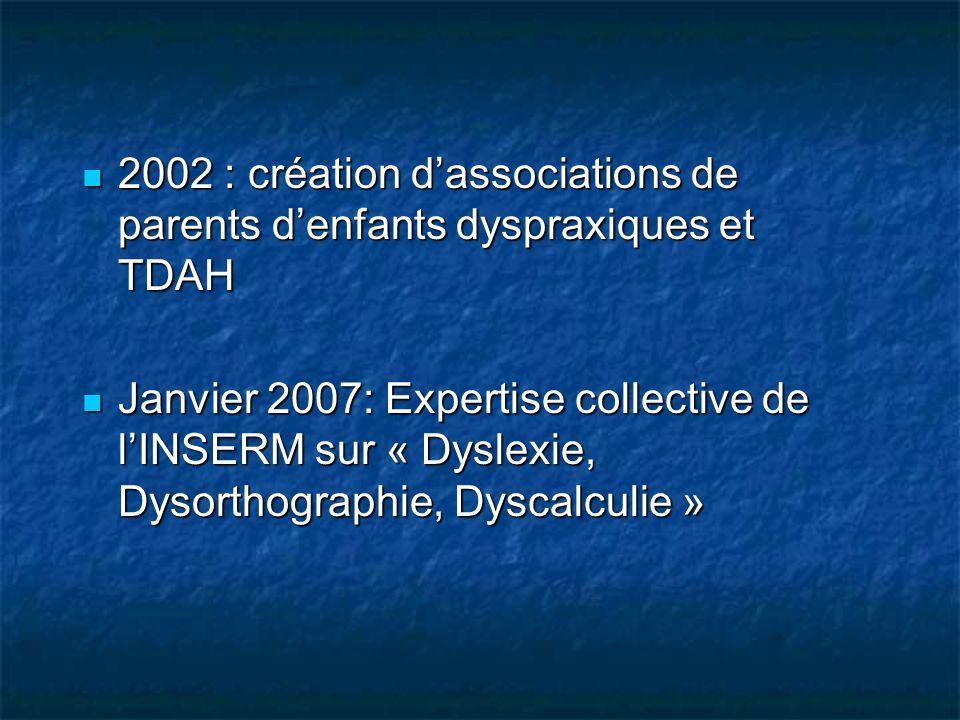 2002 : création dassociations de parents denfants dyspraxiques et TDAH 2002 : création dassociations de parents denfants dyspraxiques et TDAH Janvier