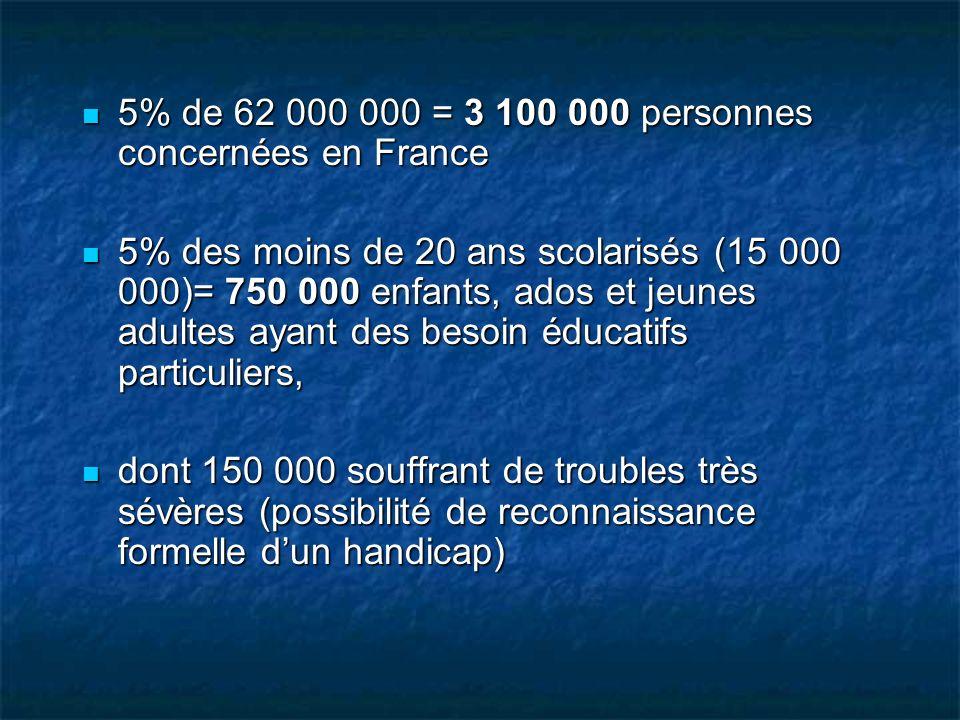 5% de 62 000 000 = 3 100 000 personnes concernées en France 5% de 62 000 000 = 3 100 000 personnes concernées en France 5% des moins de 20 ans scolari