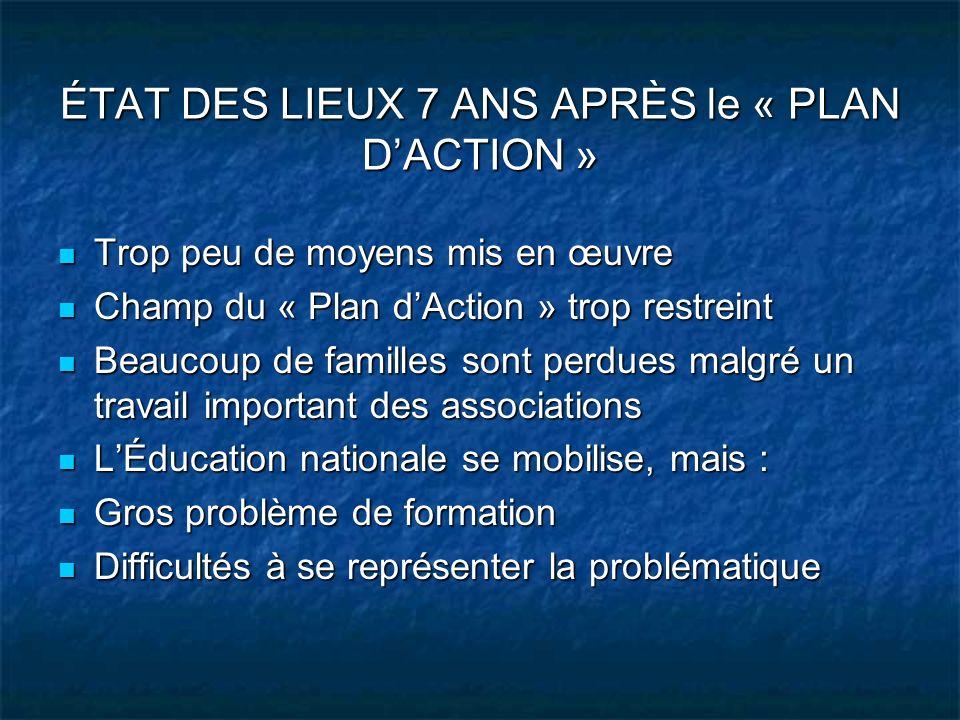 ÉTAT DES LIEUX 7 ANS APRÈS le « PLAN DACTION » Trop peu de moyens mis en œuvre Trop peu de moyens mis en œuvre Champ du « Plan dAction » trop restrein