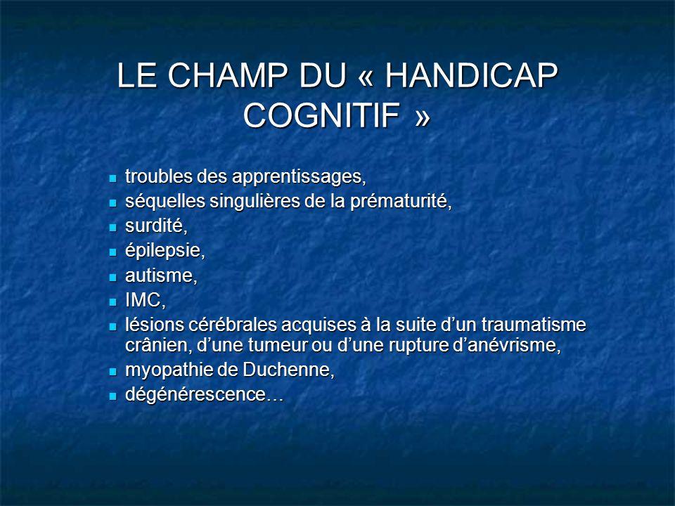 LE CHAMP DU « HANDICAP COGNITIF » troubles des apprentissages, troubles des apprentissages, séquelles singulières de la prématurité, séquelles singuli