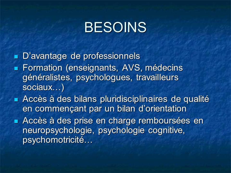 BESOINS Davantage de professionnels Davantage de professionnels Formation (enseignants, AVS, médecins généralistes, psychologues, travailleurs sociaux