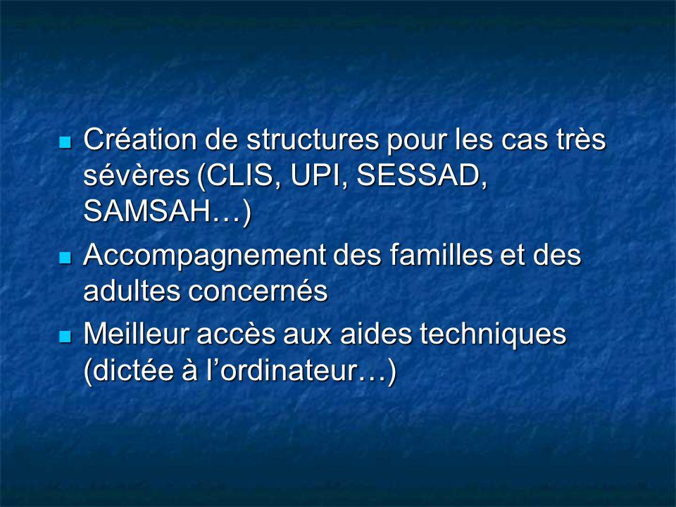 Création de structures pour les cas très sévères (CLIS, UPI, SESSAD, SAMSAH…) Création de structures pour les cas très sévères (CLIS, UPI, SESSAD, SAM