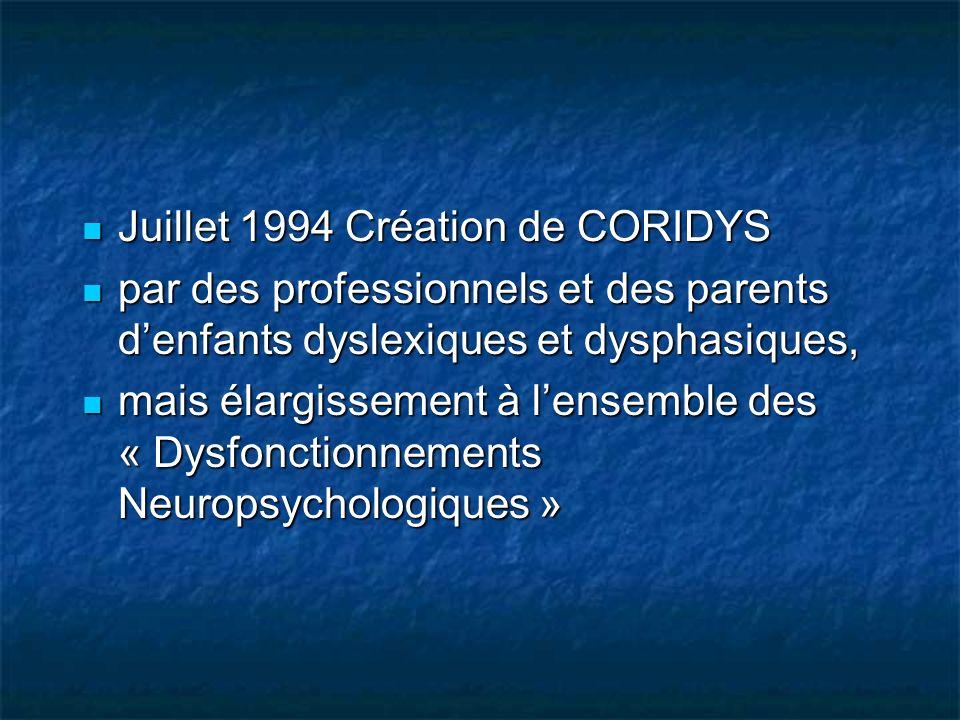 Juillet 1994 Création de CORIDYS Juillet 1994 Création de CORIDYS par des professionnels et des parents denfants dyslexiques et dysphasiques, par des