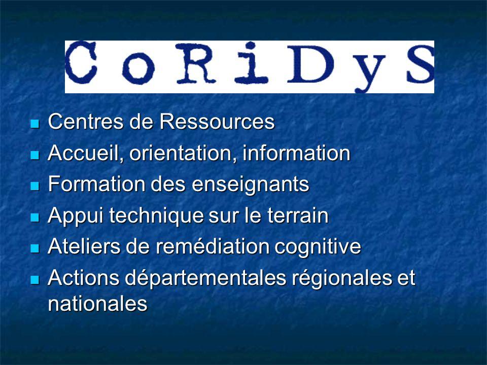 GROUPE DE TRAVAIL CORIDYS 1996-1999 Suite au conseil dinspecteur de lIGAS Suite au conseil dinspecteur de lIGAS Regroupe des praticiens, des chercheurs, des groupements professionnels et des associations.