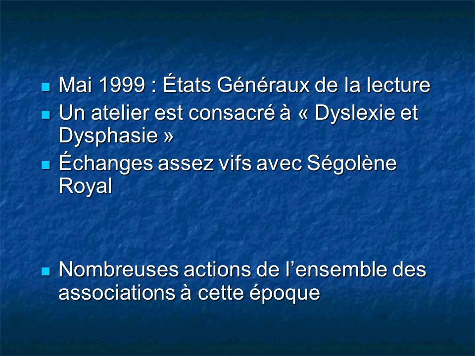 Mai 1999 : États Généraux de la lecture Mai 1999 : États Généraux de la lecture Un atelier est consacré à « Dyslexie et Dysphasie » Un atelier est con