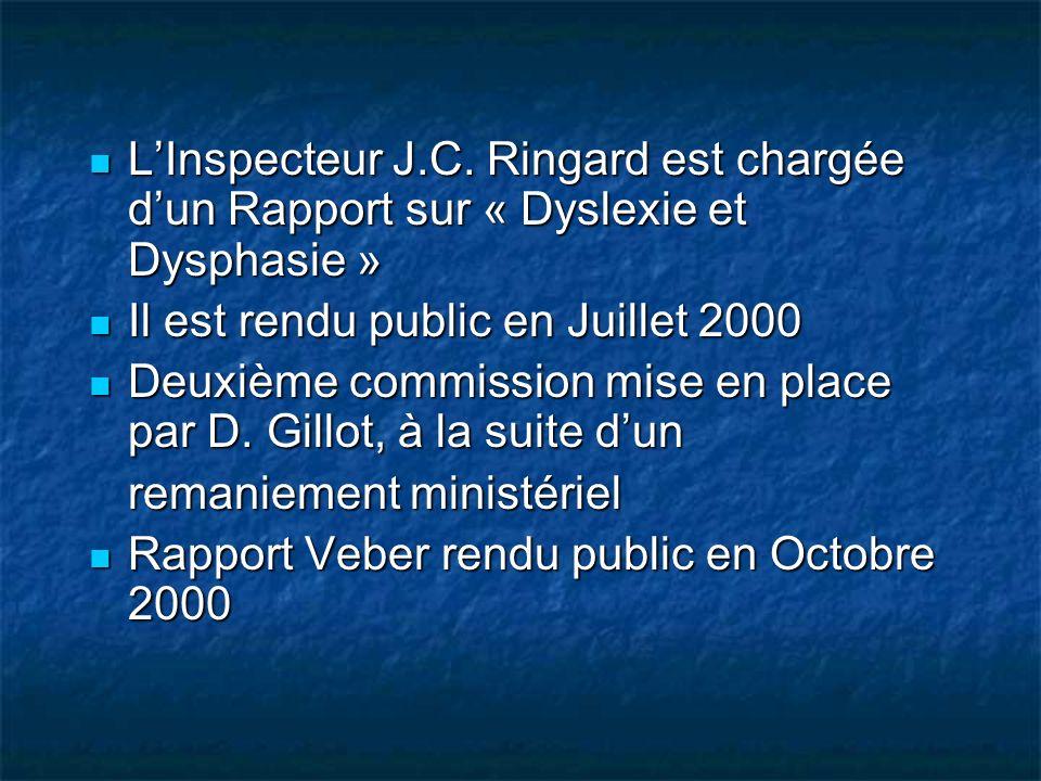 LInspecteur J.C. Ringard est chargée dun Rapport sur « Dyslexie et Dysphasie » LInspecteur J.C. Ringard est chargée dun Rapport sur « Dyslexie et Dysp