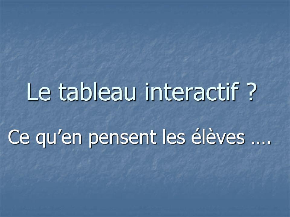 Le tableau interactif Ce quen pensent les élèves ….
