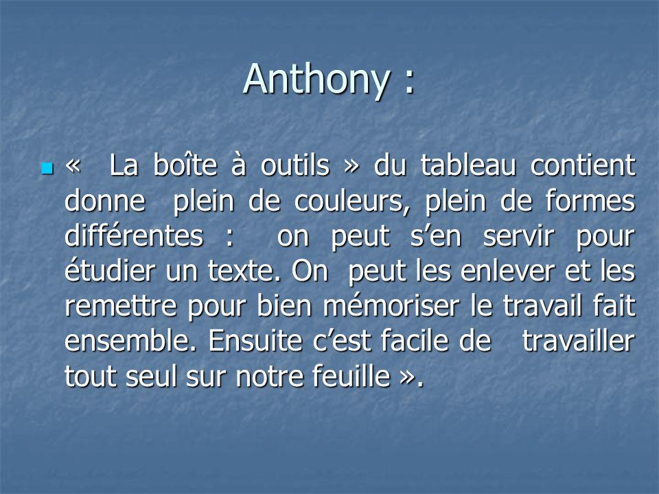 Anthony : « La boîte à outils » du tableau contient donne plein de couleurs, plein de formes différentes : on peut sen servir pour étudier un texte.