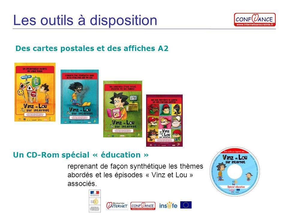 Les outils à disposition Des cartes postales et des affiches A2 Un CD-Rom spécial « éducation » reprenant de façon synthétique les thèmes abordés et l