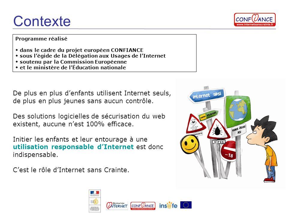 Contexte Programme réalisé dans le cadre du projet européen CONFIANCE sous légide de la Délégation aux Usages de lInternet soutenu par la Commission E