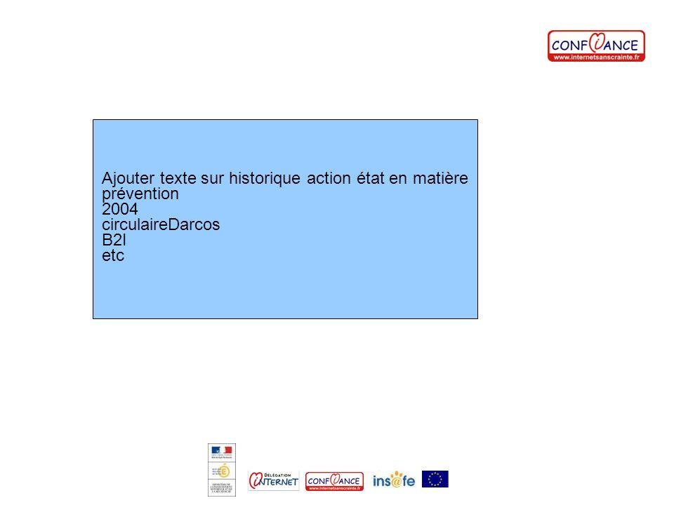 Ajouter texte sur historique action état en matière prévention 2004 circulaireDarcos B2I etc