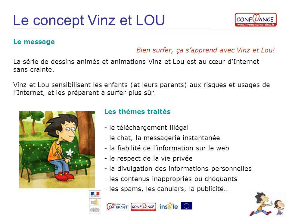 Le concept Vinz et LOU La série de dessins animés et animations Vinz et Lou est au cœur dInternet sans crainte. Vinz et Lou sensibilisent les enfants