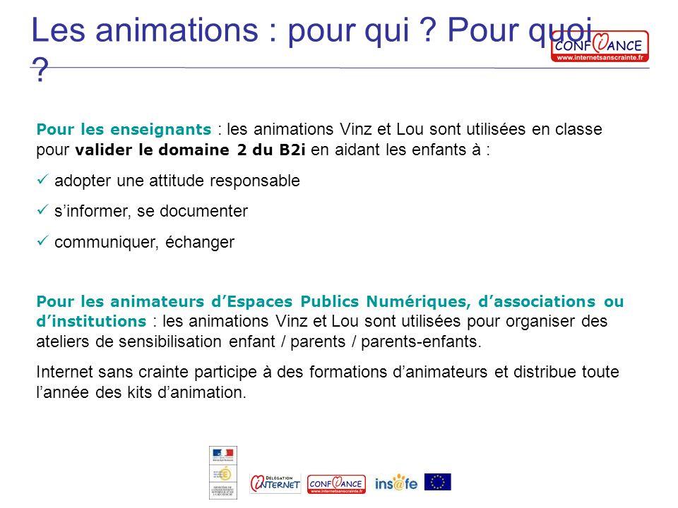 Les animations : pour qui ? Pour quoi ? Pour les enseignants : les animations Vinz et Lou sont utilisées en classe pour valider le domaine 2 du B2i en