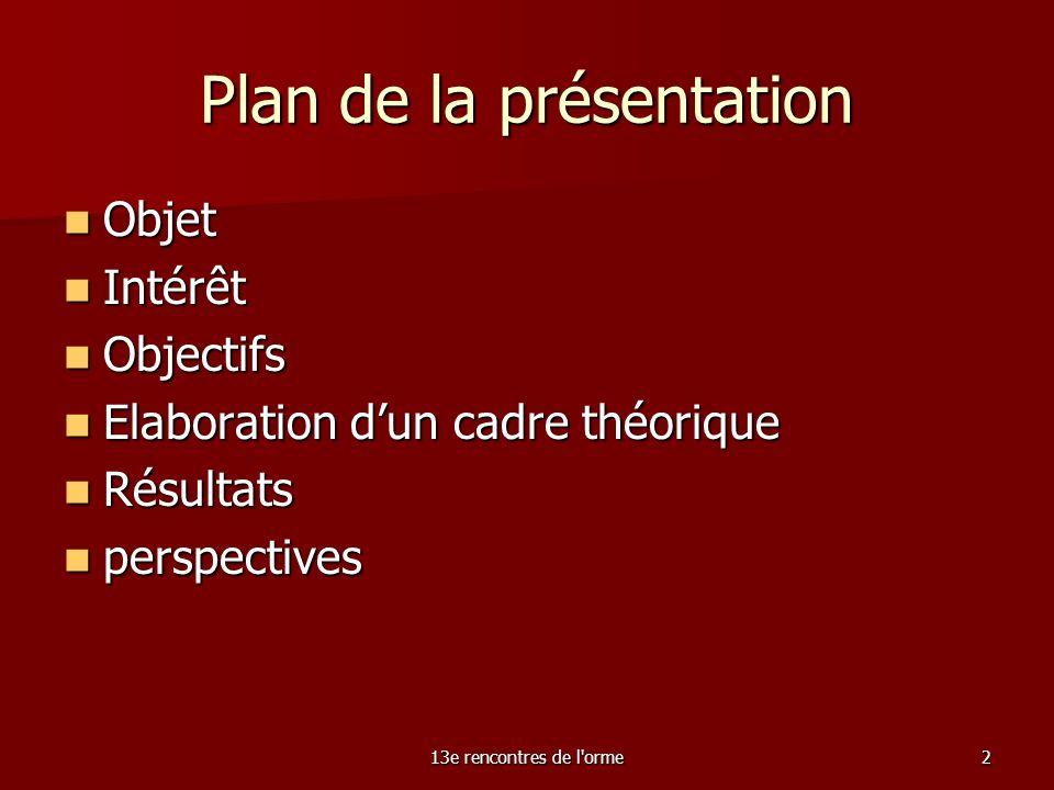 13e rencontres de l orme2 Plan de la présentation Objet Objet Intérêt Intérêt Objectifs Objectifs Elaboration dun cadre théorique Elaboration dun cadre théorique Résultats Résultats perspectives perspectives
