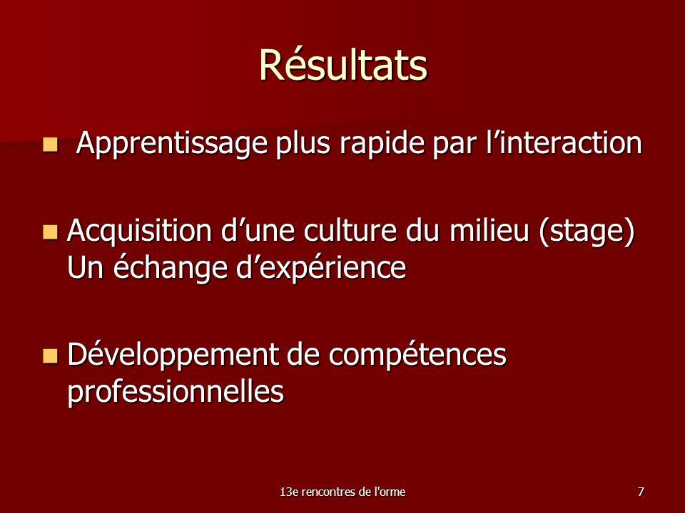 13e rencontres de l orme7 Résultats Apprentissage plus rapide par linteraction Apprentissage plus rapide par linteraction Acquisition dune culture du milieu (stage) Un échange dexpérience Acquisition dune culture du milieu (stage) Un échange dexpérience Développement de compétences professionnelles Développement de compétences professionnelles