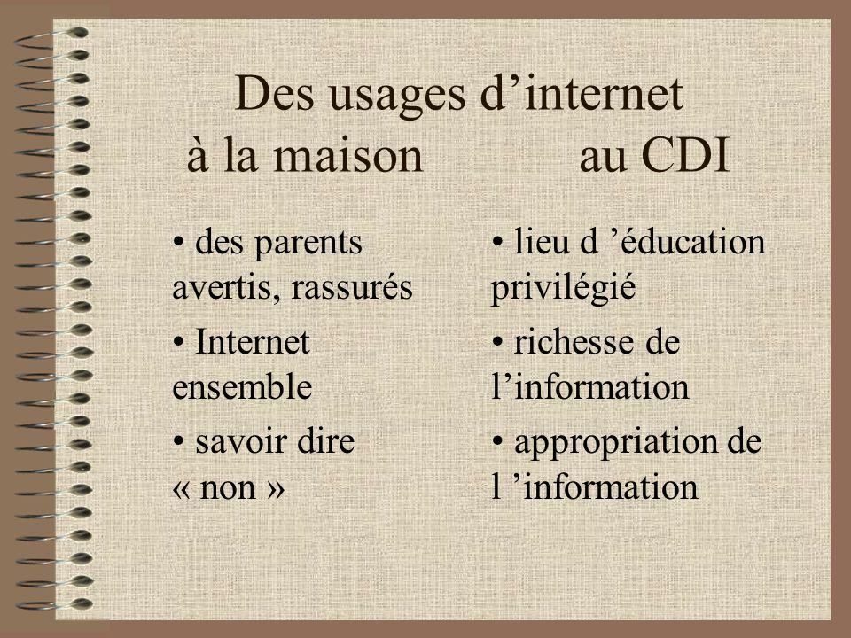 Des usages dinternet à la maison au CDI des sites dangereux les enfants « accros » moins de temps pour les devoirs isolement lieu remis en question fiabilité de linformation appropriation de l information