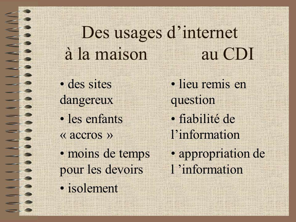 Au CDI, les élèves délaissent linformation matérialisée (livres, revues, encyclopédies...) et se tournent vers internet.