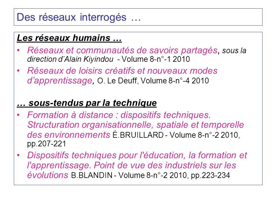 Des réseaux interrogés … Les réseaux humains … Réseaux et communautés de savoirs partagés, sous la direction dAlain Kiyindou - Volume 8-n°-1 2010 Rése