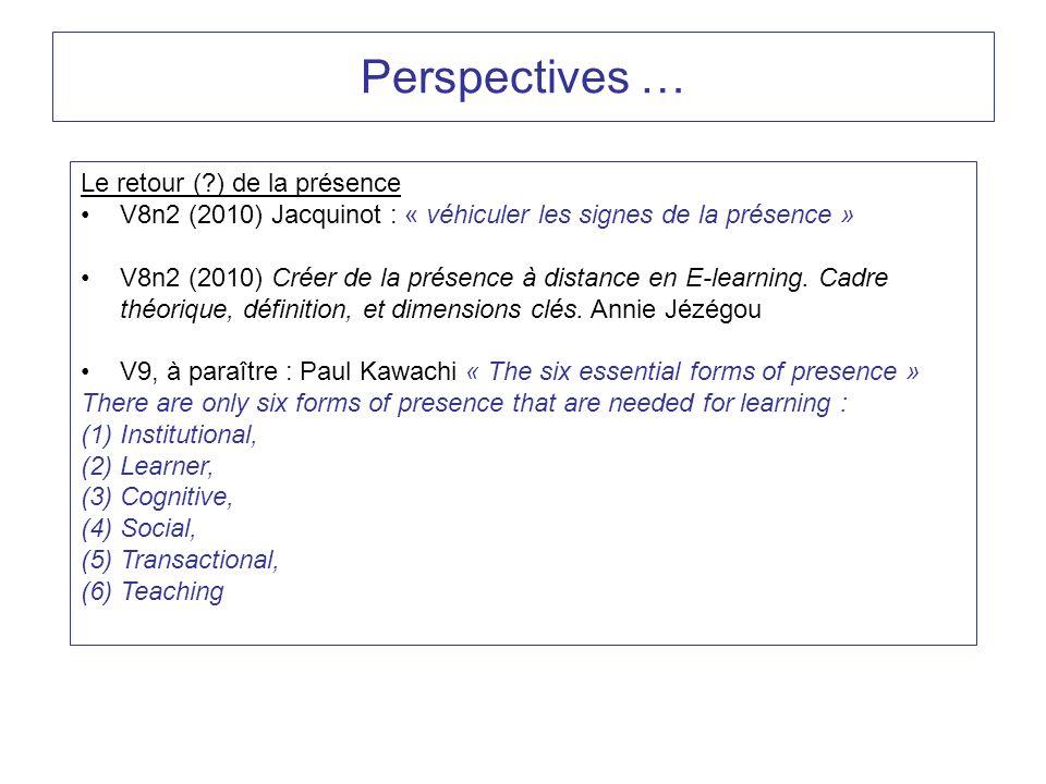 Perspectives … Le retour (?) de la présence V8n2 (2010) Jacquinot : « véhiculer les signes de la présence » V8n2 (2010) Créer de la présence à distanc