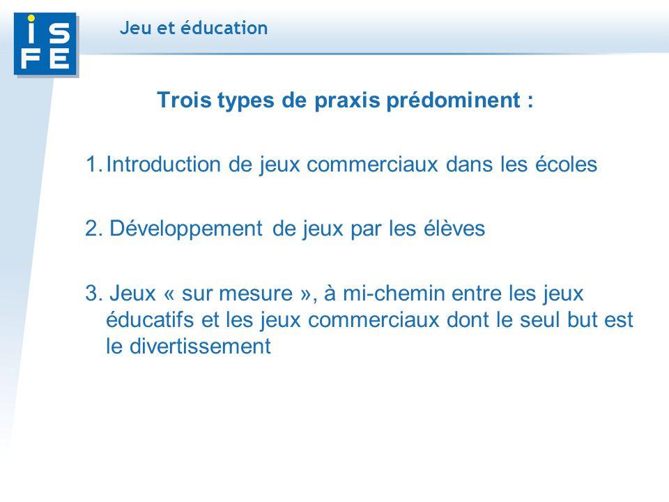 Trois types de praxis prédominent : 1.Introduction de jeux commerciaux dans les écoles 2.
