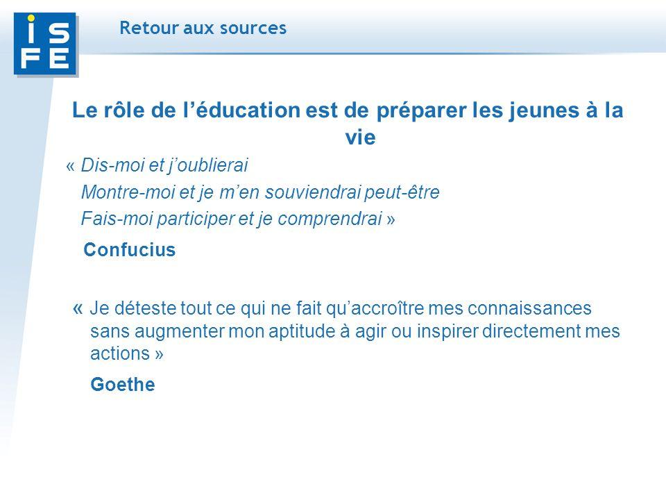 Retour aux sources Le rôle de léducation est de préparer les jeunes à la vie « Dis-moi et joublierai Montre-moi et je men souviendrai peut-être Fais-moi participer et je comprendrai » Confucius « Je déteste tout ce qui ne fait quaccroître mes connaissances sans augmenter mon aptitude à agir ou inspirer directement mes actions » Goethe