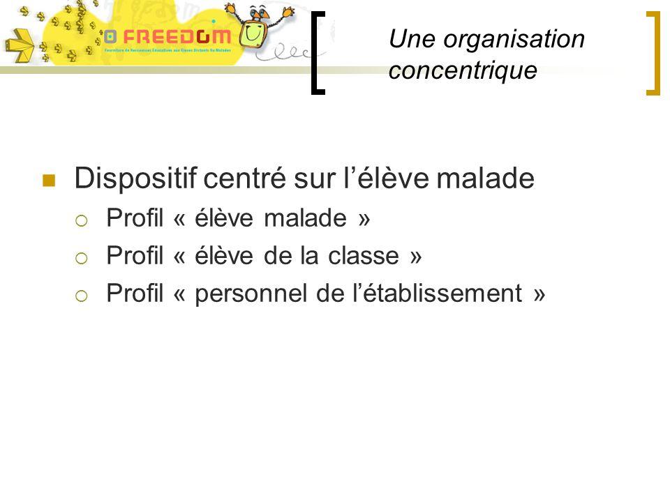 Une organisation concentrique Dispositif centré sur lélève malade Profil « élève malade » Profil « élève de la classe » Profil « personnel de létablissement »