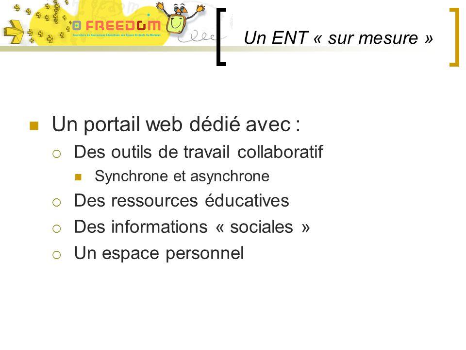 Un ENT « sur mesure » Un portail web dédié avec : Des outils de travail collaboratif Synchrone et asynchrone Des ressources éducatives Des informations « sociales » Un espace personnel