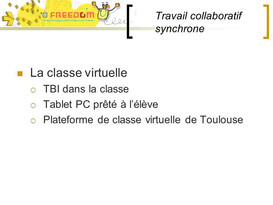 Travail collaboratif synchrone La classe virtuelle TBI dans la classe Tablet PC prêté à lélève Plateforme de classe virtuelle de Toulouse