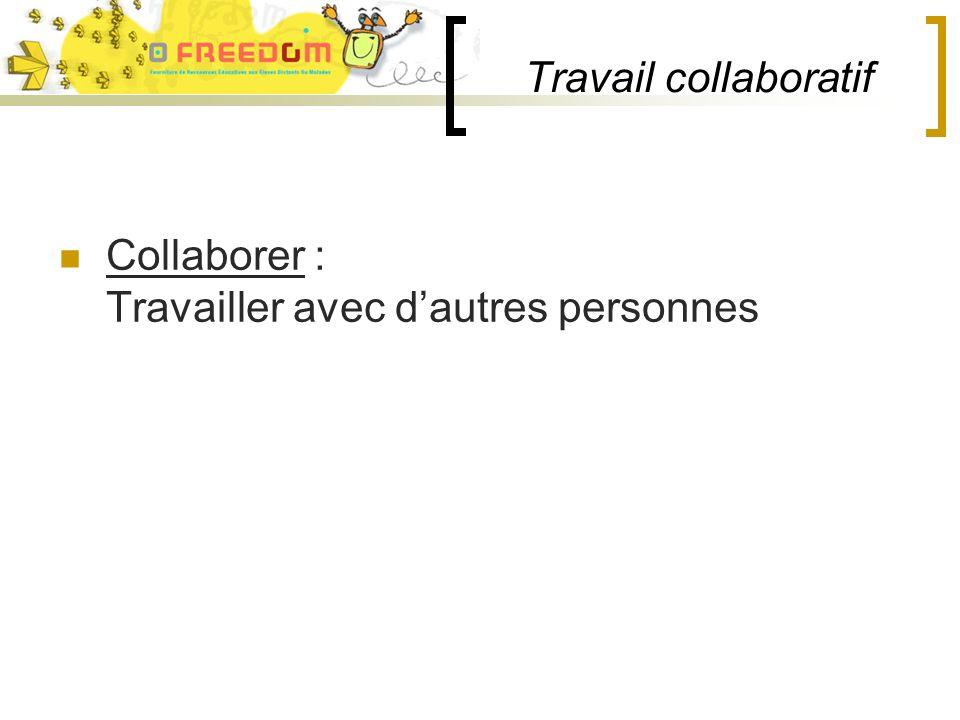 Travail collaboratif Collaborer : Travailler avec dautres personnes