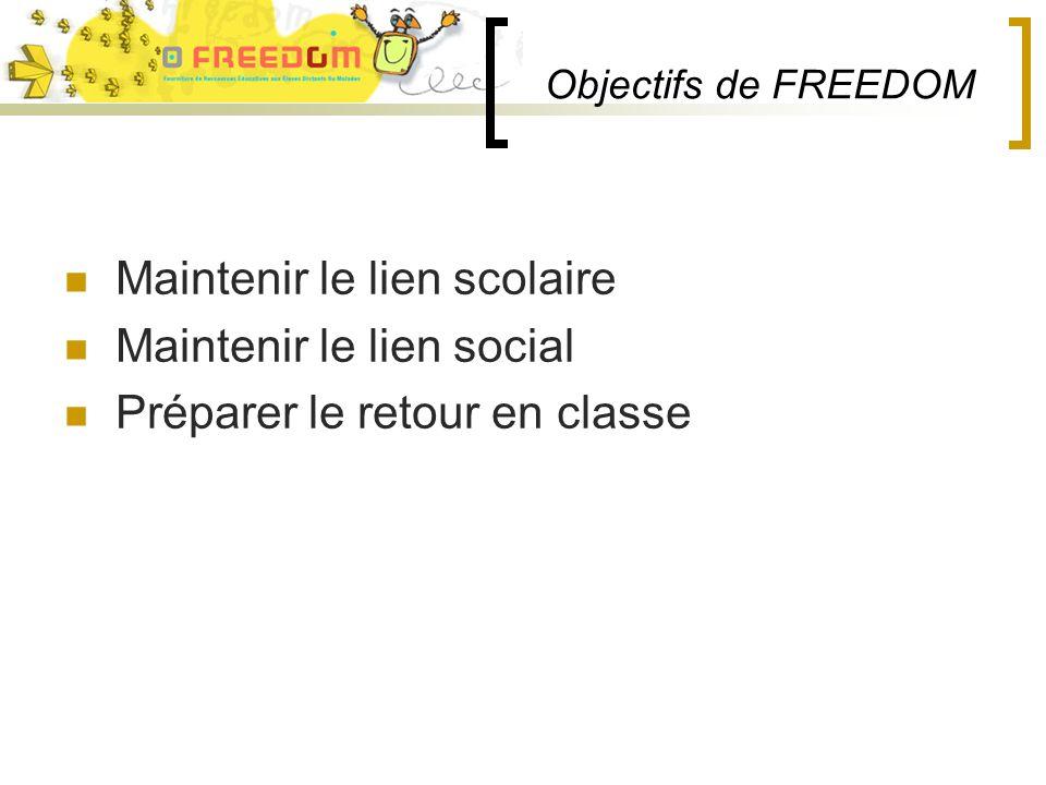 Objectifs de FREEDOM Maintenir le lien scolaire Maintenir le lien social Préparer le retour en classe
