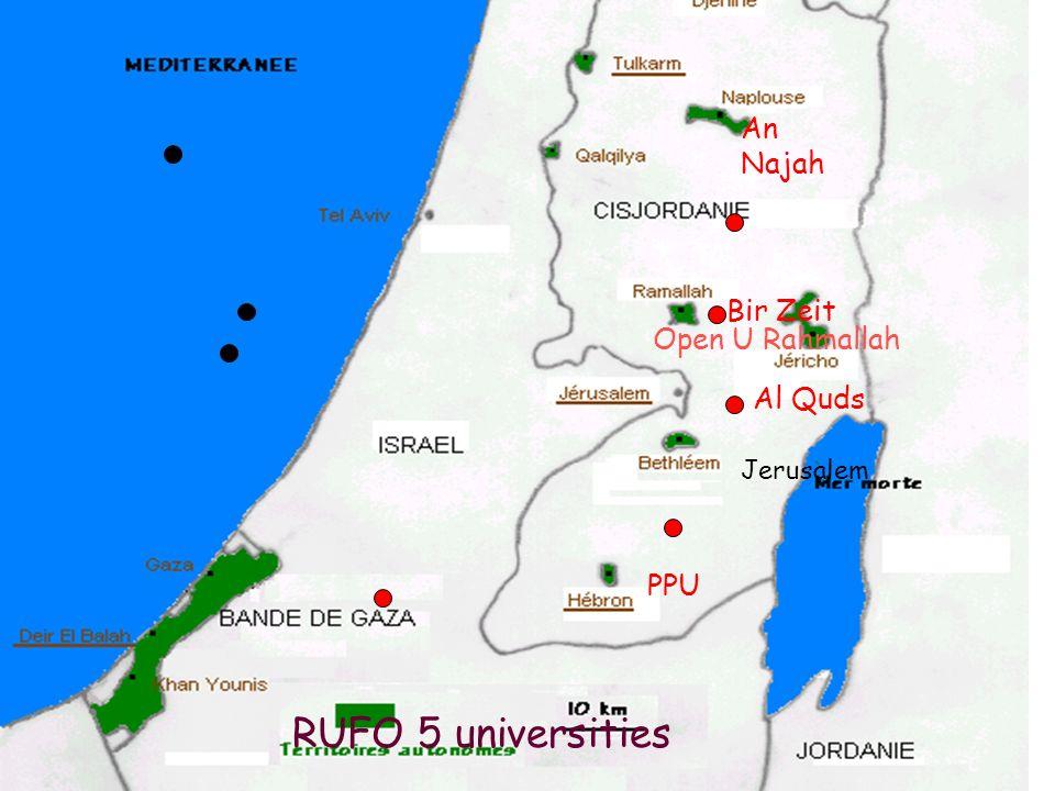 26 mars 2009, L Orme11 RUFO 5 universities Bir Zeit Al Quds PPU 2005-2008 An Najah Jerusalem Open U Rahmallah