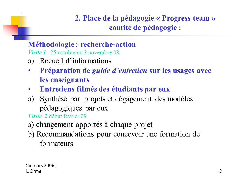 26 mars 2009, L'Orme12 2. Place de la pédagogie « Progress team » comité de pédagogie : Méthodologie : recherche-action Visite 1 25 octobre au 3 novem